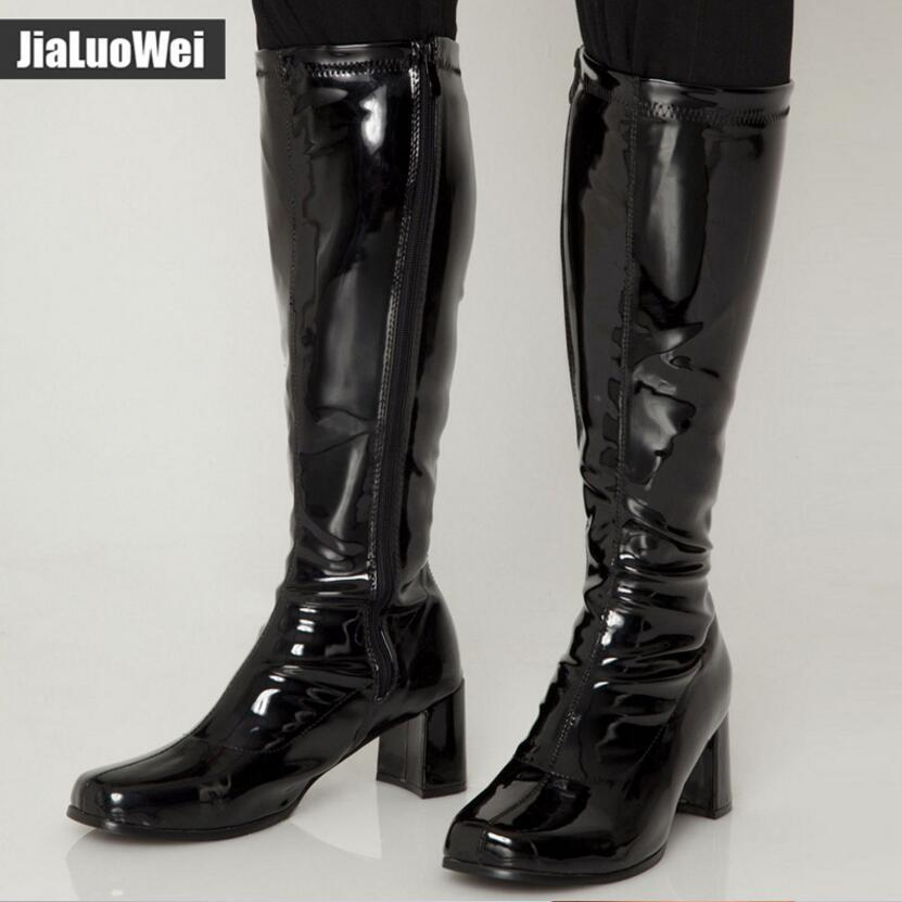 NEW 2018 Halloween Pink 1960s Go Go Ladies Retro Boots For Women Knee High Boots Fancy costumes Dress Party Shoes Man knight boots