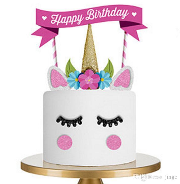 Grosshandel Einhorn Cake Topper Happy Birthday Party Supplies Diy