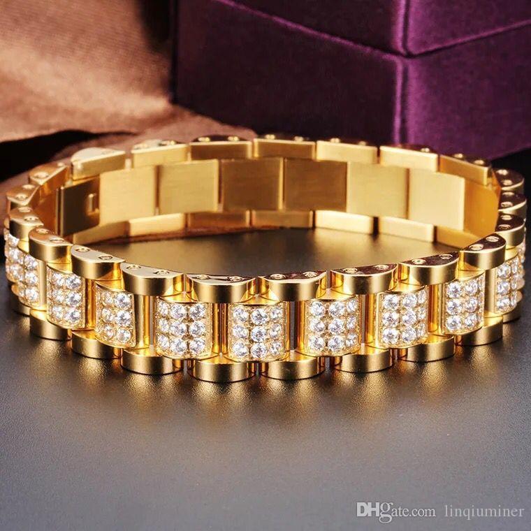 18K GOLD GEMSTONE stainless steel bracelet hip hop jewelry for