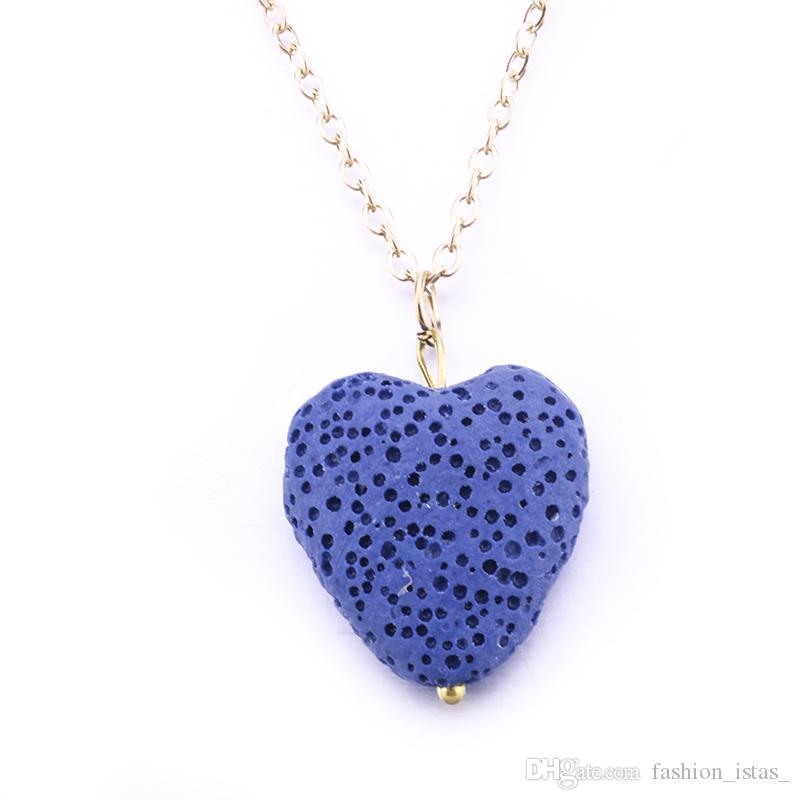 Corazón Collar de piedra de lava Collar de roca volcánica para las mujeres