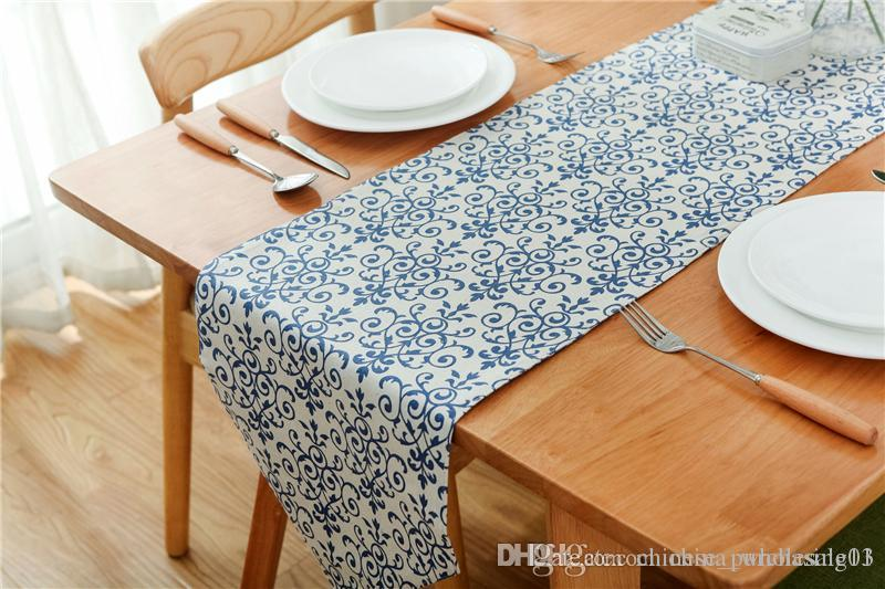 Elegant Decorative Table Runner For Dining Blue And White Printed