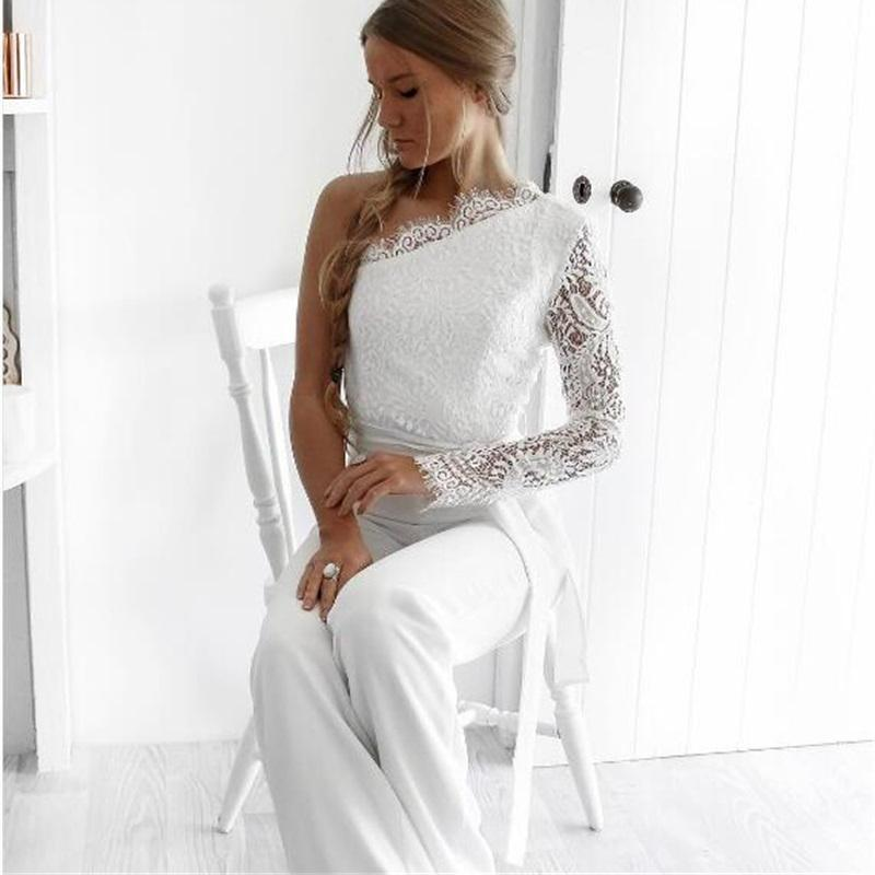 Fuedage 2017 Sexy Lace Jumpsuit Women Summer Autumn One Shoulder Long Playsuit Romper Floral Elegant Sashes Club Party Overalls