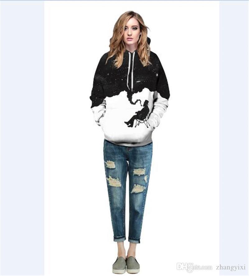 En gros livraison gratuite Fashion Cap Hoodies Hommes Femmes Pulls À Manches Longues Imprimer Note De Musique / Fumeur Homme / Cheval Sweat À Capuche 3d Sweats