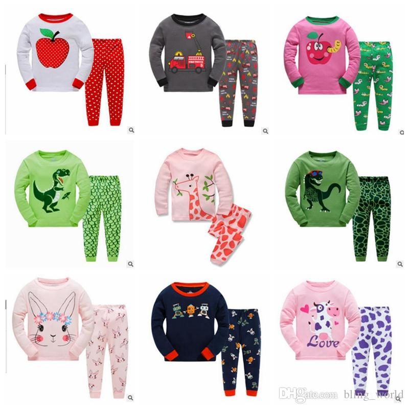 d3547466be5f Kids Clothing Set Baby Designer Dinosaur print Pajamas Girls Cotton  Homewear Clothing Suits Boys Casual Tops   Pants Outfits 2-7Y YL477