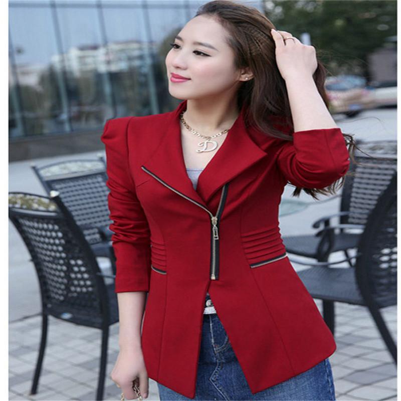 YENI Blazers 2017 Bahar Kadın Suit Blazer Sonbahar Ceket Moda Fermuar Uzun Kollu Katı Kırmızı Ince Ceket Feminino Ofis Ceket