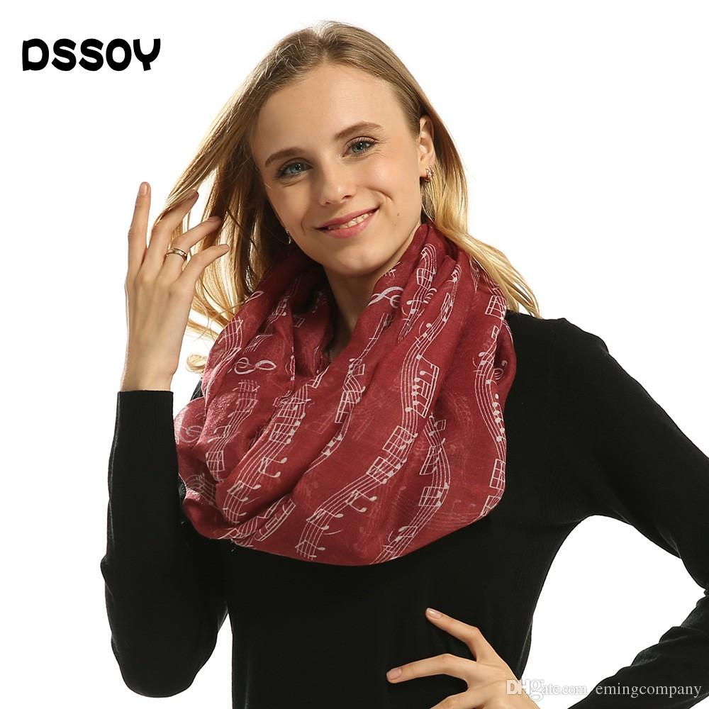 varietà larghe ineguagliabile nelle prestazioni stile distintivo Designer Women Music Note Silk Scarf Shawls Neck Warmer Scarves Wraps  Stoles For Ladies Voile Soild Colors Winter Spring Scarfs Accessories