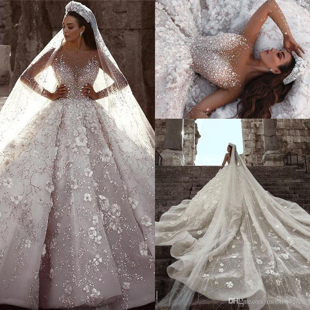 Discount 2019 Arabic Luxury Beaded A Line Wedding Dresses Sheer Long  Sleeves Tulle 3D Floral Applique Wedding Bridal Gowns Robe De Mariée BC0151  In Wedding ... 3dd0a63c9bdc