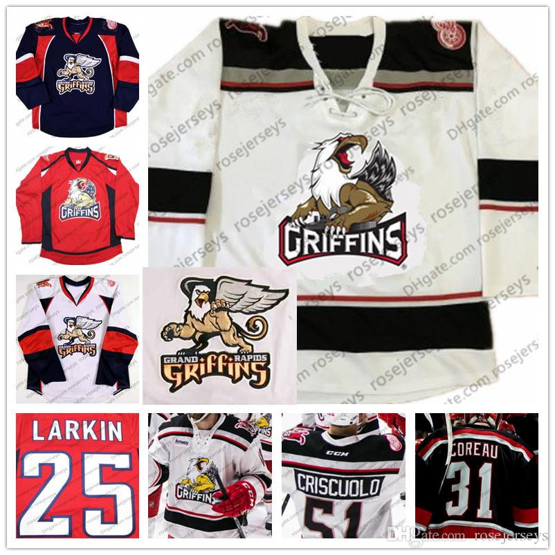 70fbf59555e 2019 Custom AHL Grand Rapids Griffins Ice Hockey Jersey Red Navy Blue White  Vintage  55 Matthew Ford Stitched Customized Any Number Name S 4XL From ...