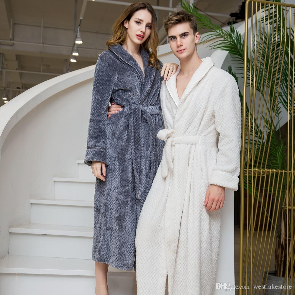 5aebcbdde5 2019 Thick Robe Men 100% Flannel Bathrobe Hooded Warm Autumn Winter  Dressing Gown Long Robe Wedding Bridesmaid Robe White Grey Color From  Westlakestore