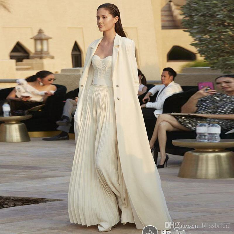 2018 New Design Two-Piece Suit Strapless Pleats Prom Dress Long Sleeve Coat Floor Length Party Dresses