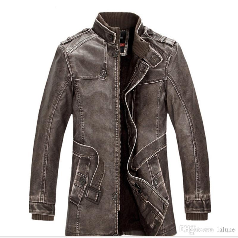 Veste en cuir d'hiver de mode décontractée pour hommes vestes revers noir et marron fermeture éclair fausse fourrure hommes manteau de haute qualité