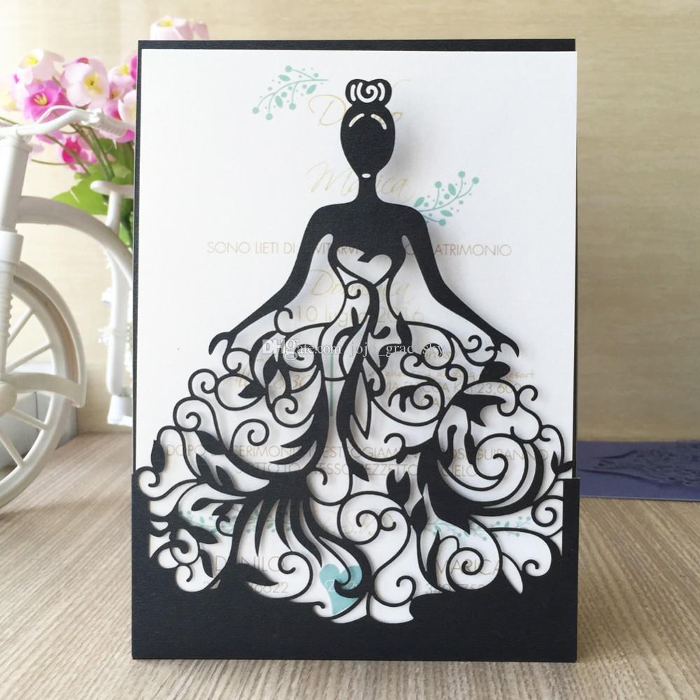 50 unids envío gratis Tarjetas de Invitación de Boda de corte Láser invitaciones de boda convite de casamento Tarjetas de Invitación de Boda Diseño de la Princesa
