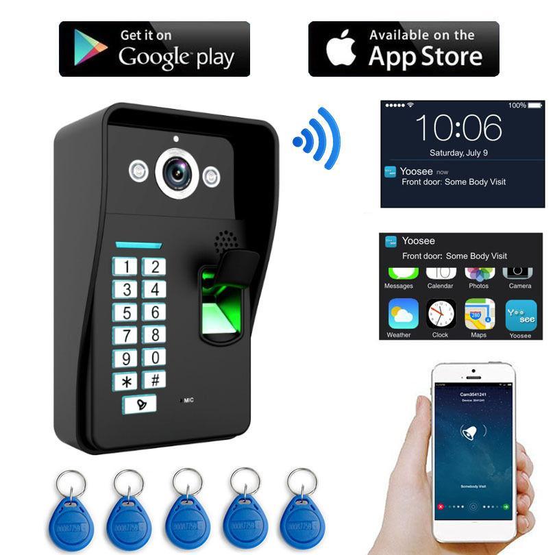 a26f6f6ab2350 Compre HD 720 P Telefone Video Da Porta WI FI Sem Fio RFID Senha De  Impressão Digital De Vídeo Campainha Intercom IP Camera Suporte IOS Android  Phone PC De ...