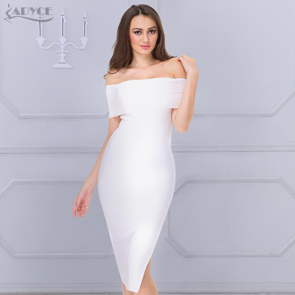 20187 ADYCE 2018 New Celebrity Runway Bandage Dress White Black Red Sexy  Off Shoulder Bodycon Women Evening Party Knee Length Dress Strapless Party  Dresses ... 85cdb9caee7f