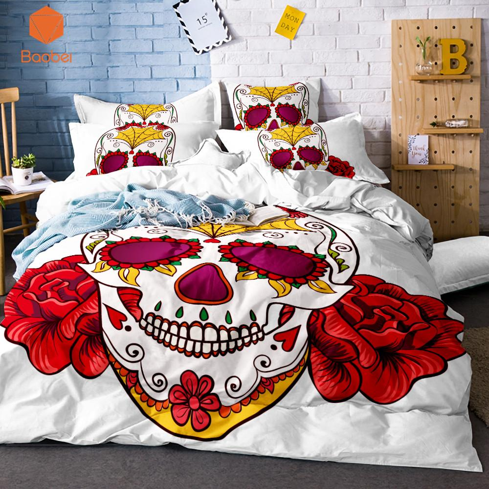 3Pcs Cartoon Halloween Flowers Skull Duvet Cover Pillowcase White Bedding Set Soft Quilt Cover Comfortable Queen size SJ129
