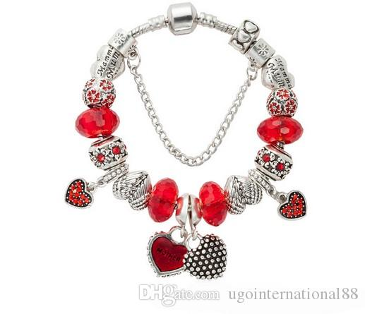 3f29d412b 925 Sterling Silver Red Crystal European Charm Beads Mom Mother & Daughter  Heart Beads Charm Bracelets Pandora Style Bracelet DIY Jewelry Snake Chain  ...