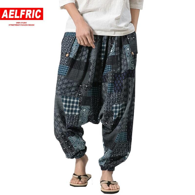 cca17d0ce 2019 AELFRIC Chinese Style Streetwear Cotton Linen Harem Cross Pants ...