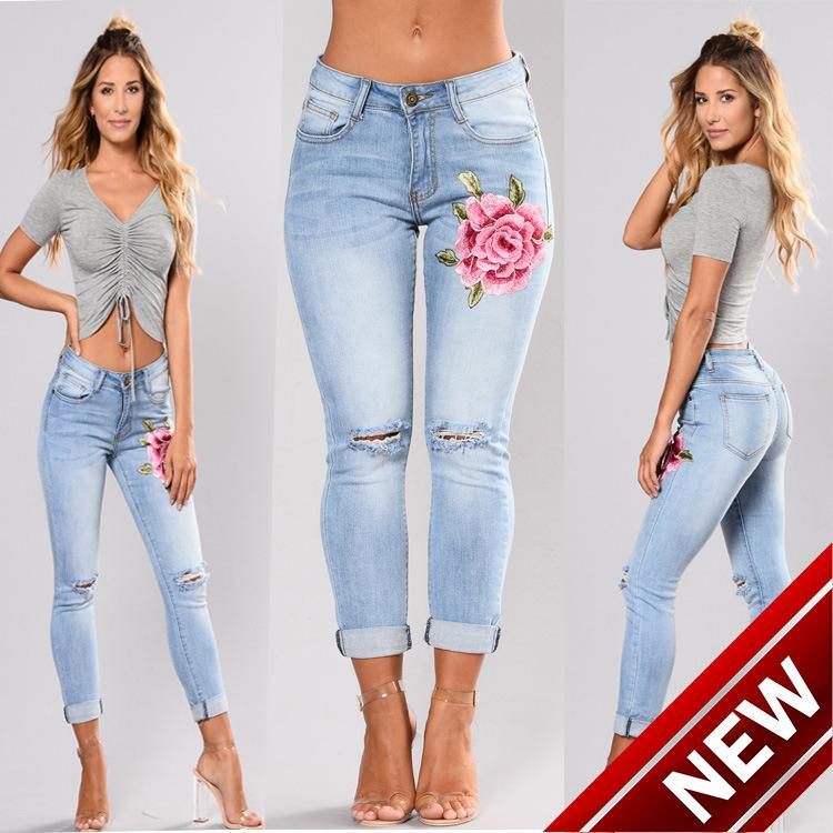 2018Wish Heat Sell vita alta Elastic Force uomo denim strappato jeans argento camicie Bound Feet Pants 8047 donne harem stampato dimagrante