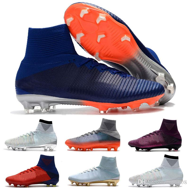 ACC Mercurial Superfly V CR7 FG Football Shoes Unisex Superfly V Soccer Cleats Mens High Top Quality Mercurial Superfly CR7 FG Soccer Boots