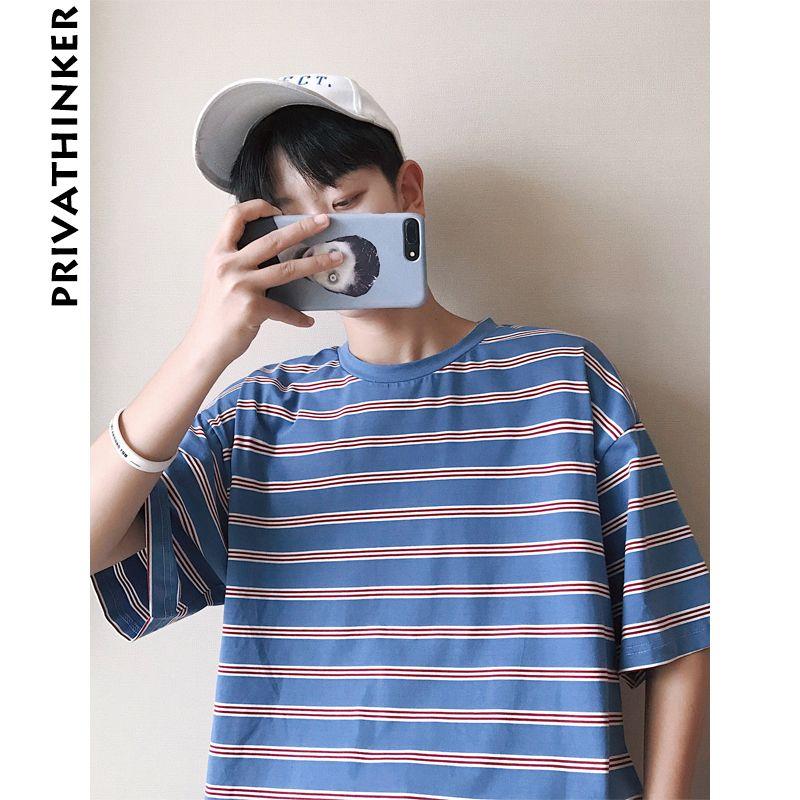 Man Women T Shirts 2018 Striped Oversized T Shirt Male Summer