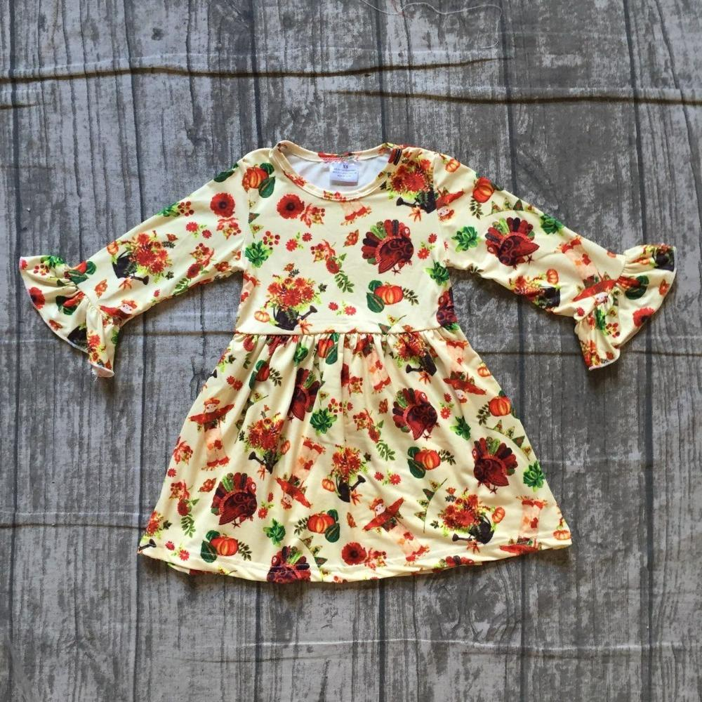 8ee3c20cc0995 2019 Thanksgiving Fall Winter Baby Girls Milk Silk Soft Cotton Dress Turkey  Print Ruffle Long Children Clothes Boutique Long Sleeve From Qwinner