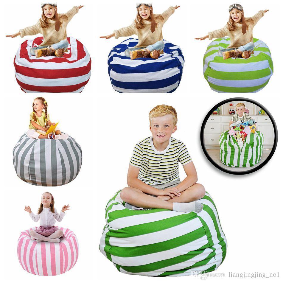 Kids Stuffed Animal Storage Bean Bag 18inch Cotton Canvas Organizer Box Organization Sack Chair Portable Clothes Storage OOA4637