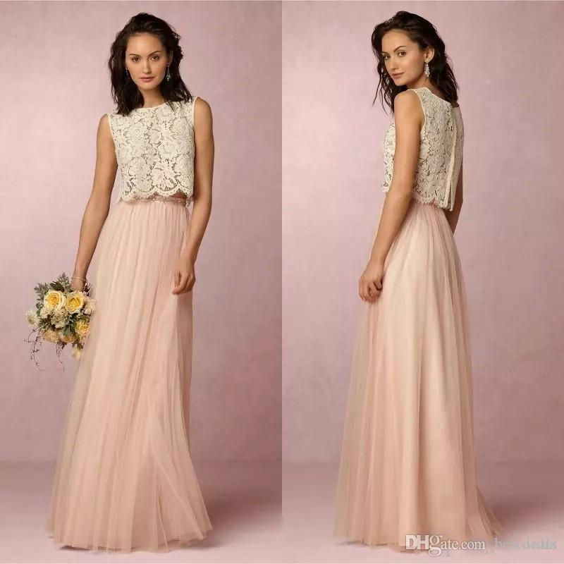 2017 Vintage Blush Pink Two Pieces Lace Bridesmaid Dresses Soft ...