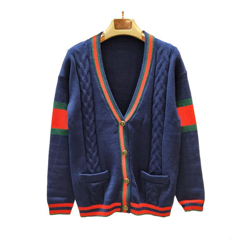 395f883a1402 2019 Brand Women Cardigan Sweaters Luxury Men Designer Sweater Jackets Dark  Blue Wool Striped Colorblock Twisted Knit Cardigan Sweater Coat From  Vogoboy