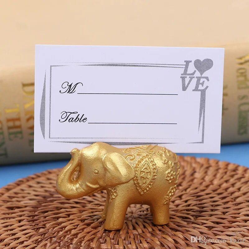 Golden Gold Lucky Elephant Place Card Holder Holders Name Number Table Place Wedding Favor Gift Unique Party Favors