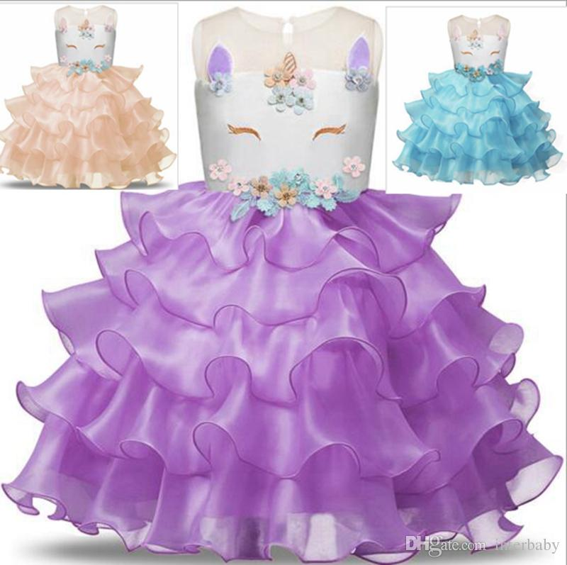 cd531732bf3 2019 Girls Dresses Unicorn Baby Dresses Girls Gauze Princess Dress Toddler  Performance Skirt Wedding Dress Kids Designer Clothes YL458 From Interbaby