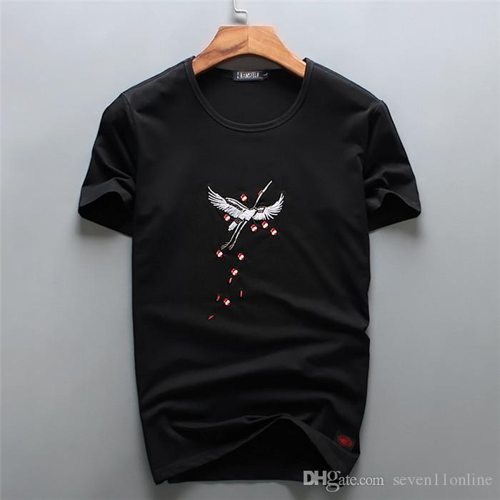 2018 высокое качество белый цвет Китай-ветер вышитые кран дизайн футболки мода футболки мужчины смешные футболки бренд хлопок топы тройники мужские