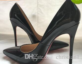 b0d355d02ad4 Free ShippWomen Black Sheepskin Nude Patent Leather Poined Toe Women  Pumps