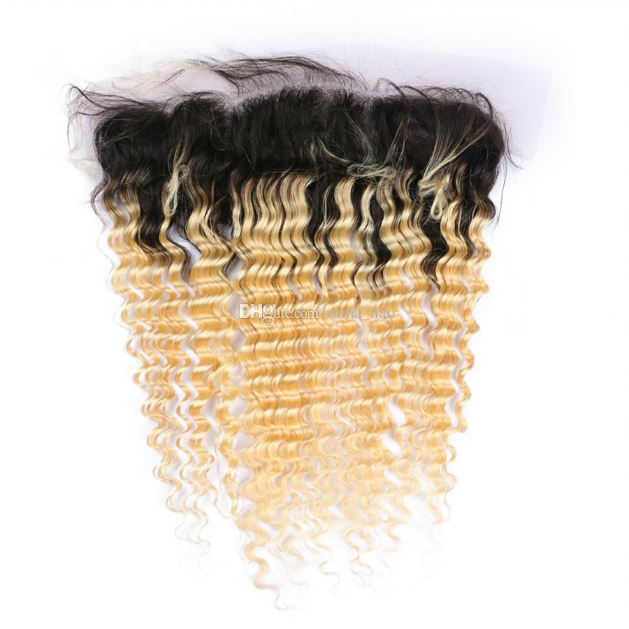 Dark Root Blonde Deep Wave Ombre Lace Frontal 8A Brazilian Human Virgin Hair Weave With Lace Frontal Deep Curly 2 Tone Hair