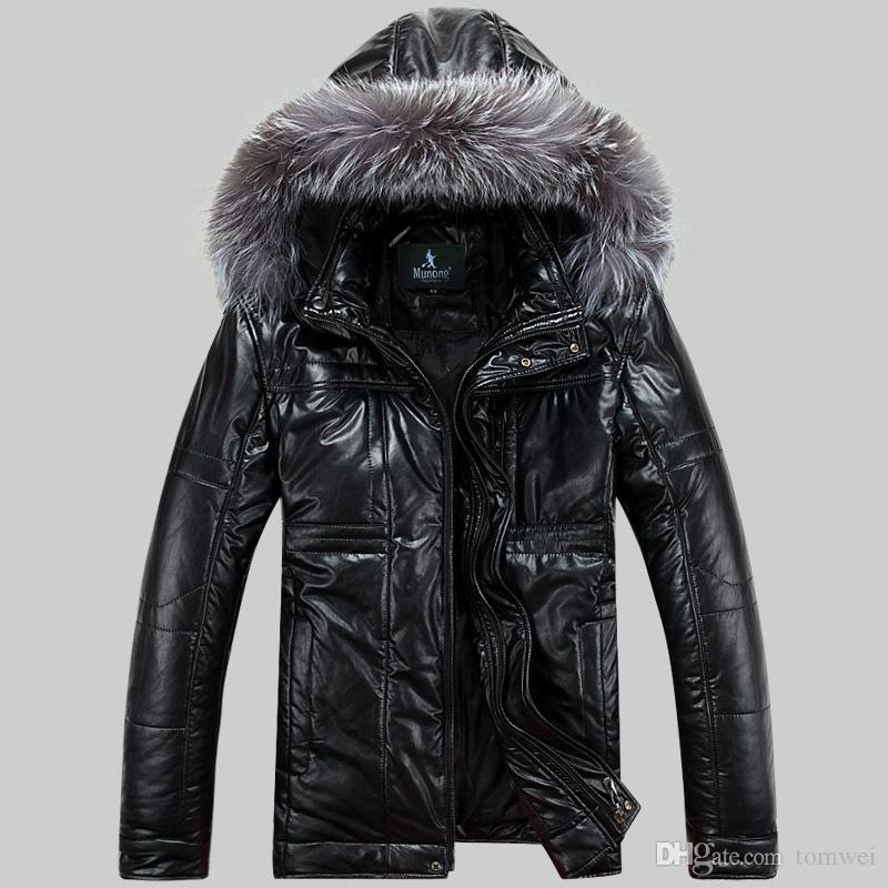 Winter Jackets Coats Hooded Mens Down Cotton Parkas Snow Clothes Fur Collar Thicken Warm Overcoat PU Leather Jackets Windbreak