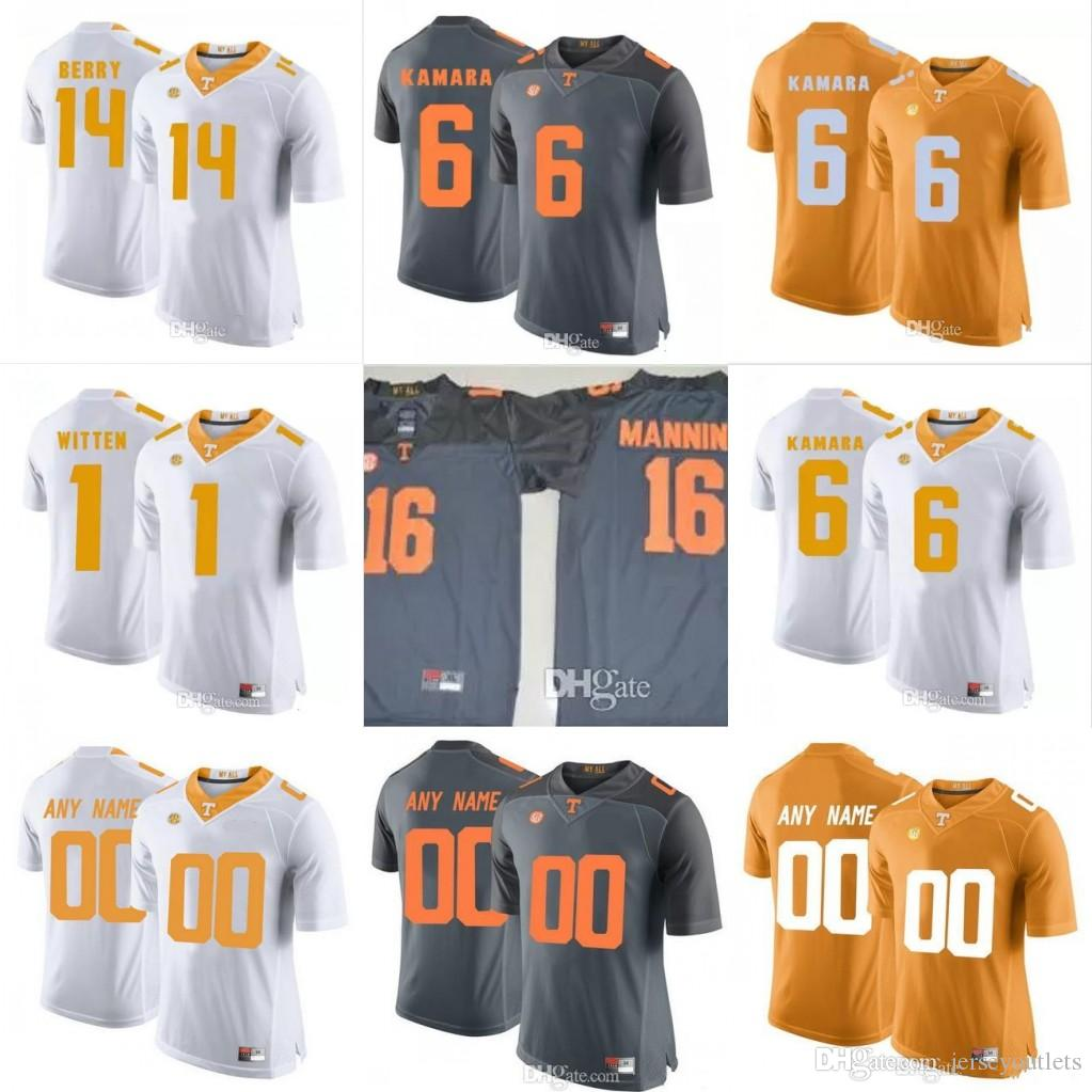 abe7ebc2e Tennessee Volunteers  1 Jason Witten 6 Alvin Kamara 16 Peyton Manning 14  Eric Berry Orange Gray White Stitched NCAA College Football Jerseys UK 2019  From ...