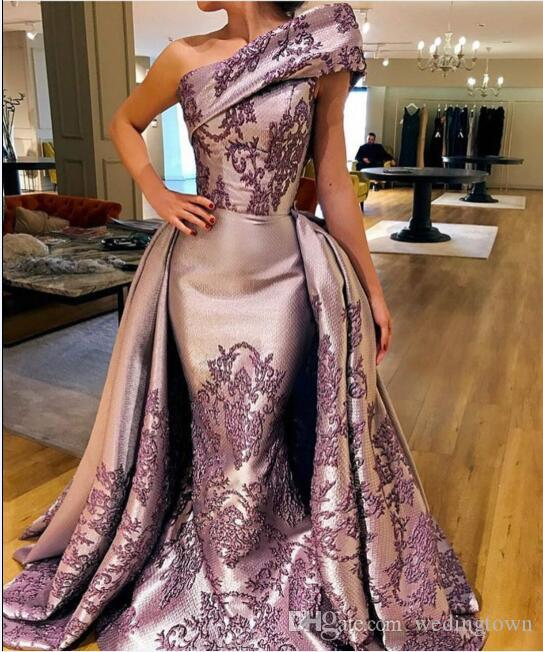 Evening dress Long Dress One shoulder Purple Ball gown AppliquesYousef aljasmi Leoalmodal Tulle Jewel Sheath In 2018 the new clothes popular