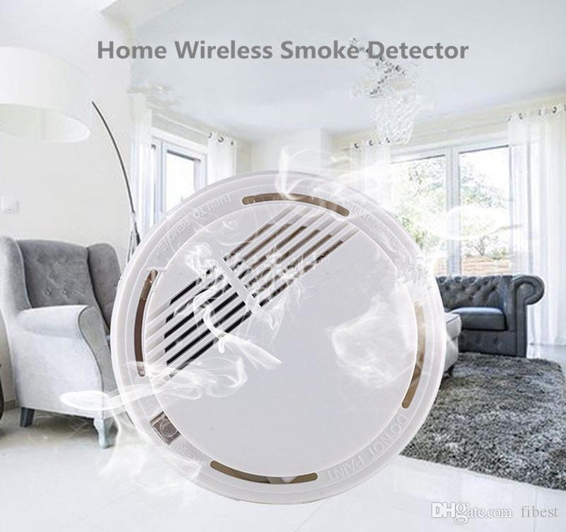 Smoke Detector White Wireless Home Security System Fire Alarm Monitor Sensor for Family office Safety Detecting