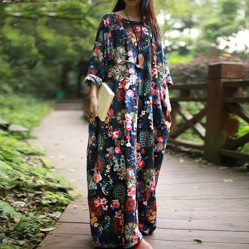 ca33b13914869 2019 2018 Autumn Pregnance Women Print Dress Cotton Maternity Clothes For Pregnant  Female Casual Loose Long Maxi Dresses Vestidos From Orchidor, ...