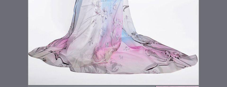 [BYSIFA] Chiffon Silk Scarf Shawl Ladies Fashion Brand Blue Lotus Long Scarves Wraps 180*68cm Summer Women Beach Cover-Ups Cape