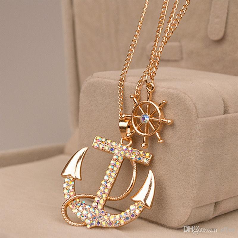 2 шт. / лот мода Кристалл якорь ожерелье Белый Военно-Морского Флота стиль якорь руль личность длинное ожерелье ювелирные изделия для женщин