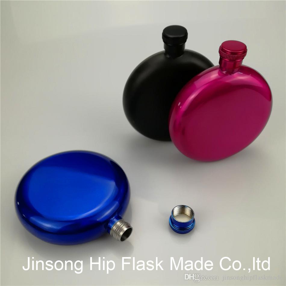 نمط جديد الفولاذ المقاوم للصدأ 5 أوقية قارورة مستديرة اللون الأسود / الأحمر / الوردي الساخن / الأزرق / الشظية ، مختلط الألوان المتاحة