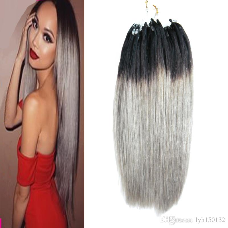 Brazilian Micro Ring Loop Hair Extensions 1g Cheap 1bgray Ombre