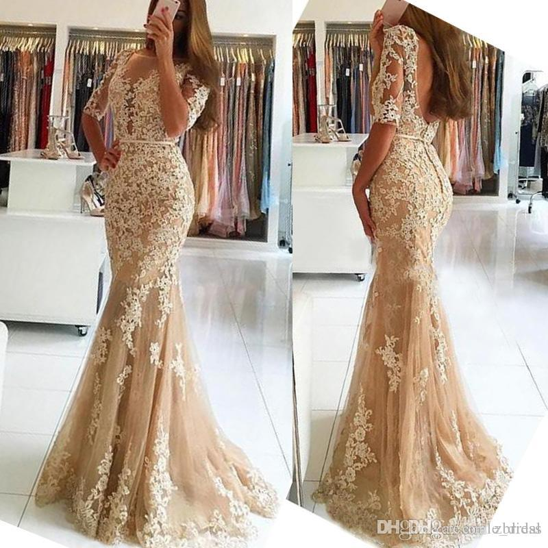 78f94010b21 Champagne Lace Evening Gowns 2017 Appliques 1 2 Long Sleeves Mermaid Prom  Dresses Backless Floor Length Formal Party Dresses For Women Evening Dress  Formal ...