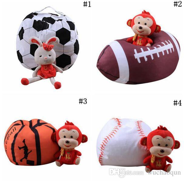 Football Basketball Baseball Storage Bean Bag 18inch Stuffed Animal Plush Pouch Bag Clothing Laundry Storage Organizer BY0160