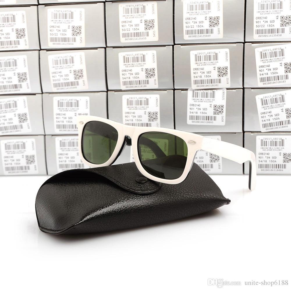 High Quality Plank black and white Sunglasses 2140 glass Lens Green Lens Sunglasses 2140 men women beach sunglasses with Original cases boxs