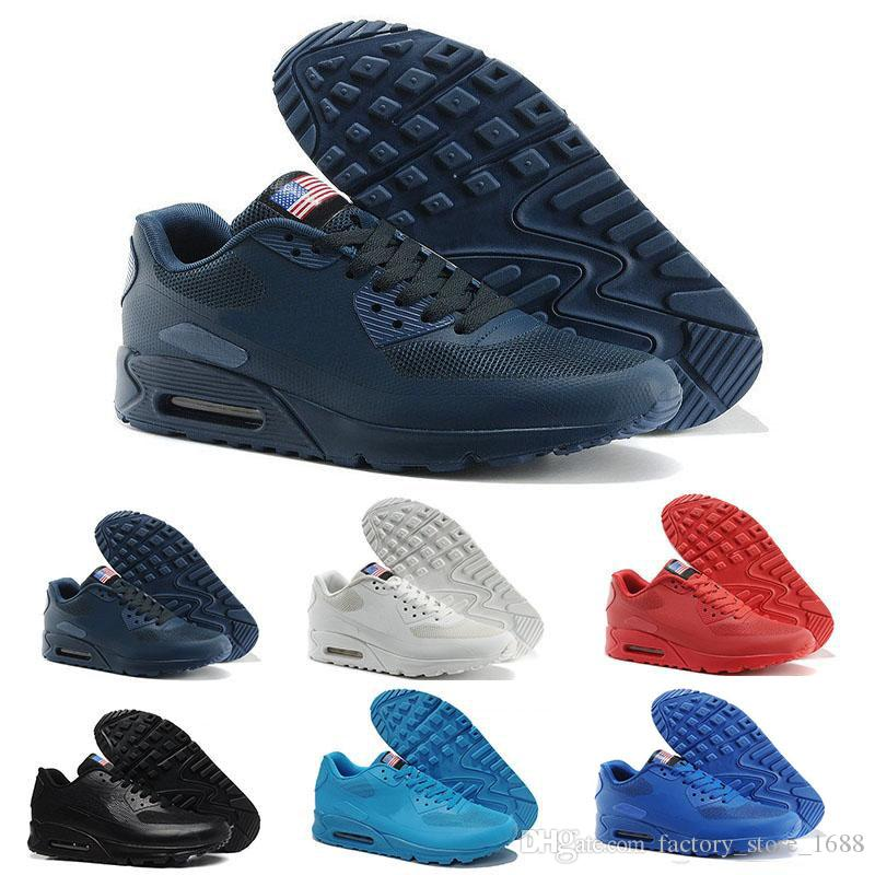 best service 2869b 10e9a 2018 NEW 90 HY PRM QS Men Women Casual Shoes 90s HyperS Fuse American Flag Black  White Navy Blue Gold Silver Sport Trainers 90 Shoes 90 Running Shoes Online  ...