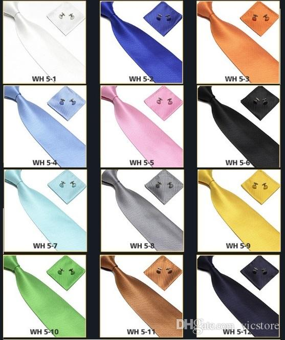 Men's Tie solid color Tie Cuff Links Handkerchief Set Casual formal clothes Accessories