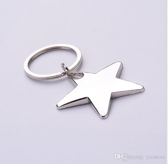 Novelty Star Shaped House Shaped Keychains Metal Keyrings Custom LOGO for Gifts