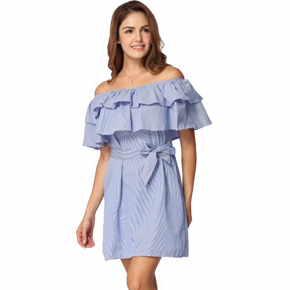 e694bac74a7f Ruffles Summer Dress Female 2018 Striped Off Shoulder Elastic Slash Neck  Mini Dresses For Women Belted Casual Party Beach Dress Silver Dresses Bride  Dress ...