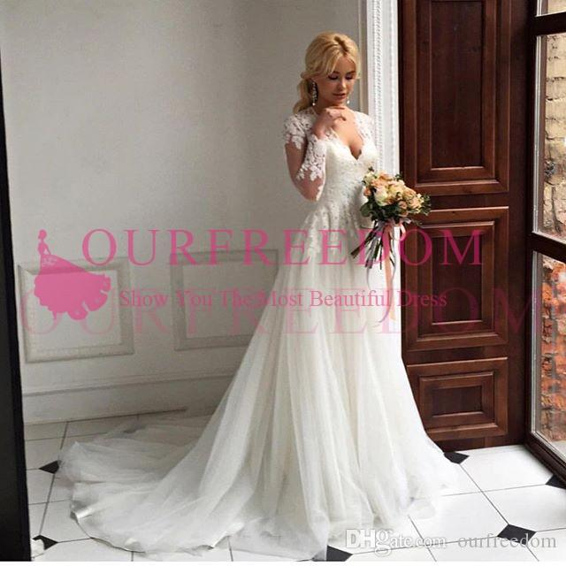 3d021c3427 Discount 2018 Chic Rustic Long Sleeve Wedding Dresses Deep V Neck Lace  Appliques A Line Sweep Train Garden Wedding Bridal Gown Custom Made Hot Sale  Cheap ...